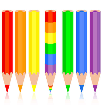 Set of colored pencil, a rainbow pencil near, vector illustration. Vector
