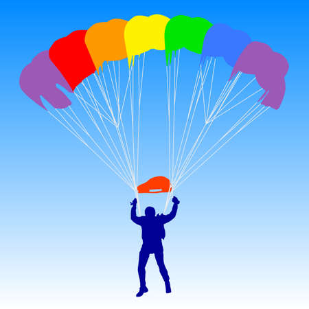 parachuting: Skydiver, silhouettes a rainbow parachuting vector illustration Illustration