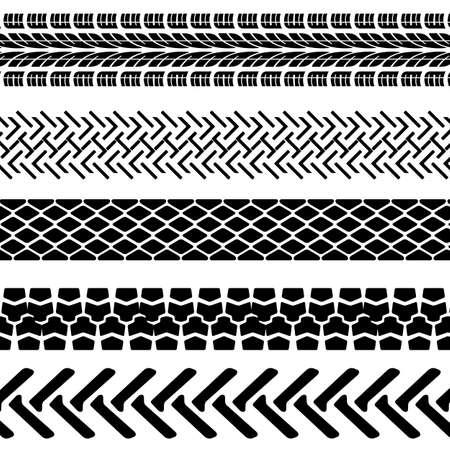 pisar: Conjunto de huellas de neumáticos detallados, ilustración vectorial