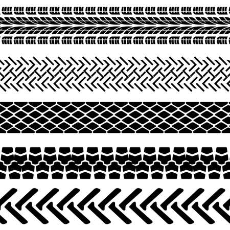 treads: Set of detailed tire prints, vector illustration
