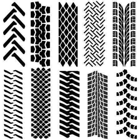 tire track: Set of detailed tire prints, vector illustration