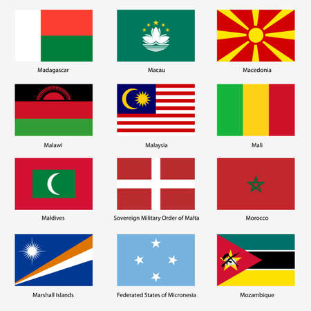 exact: Set  Flags of world sovereign states. Vector illustration. Set number 10. Exact colors. Easy changes.