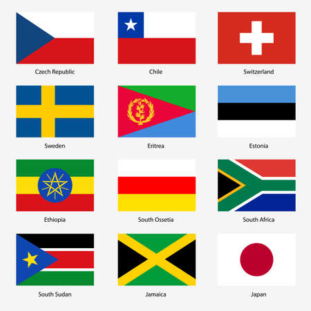 exact: Set  Flags of world sovereign states. Vector illustration. Set number 17. Exact colors. Easy changes.