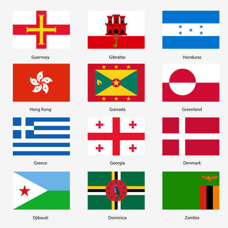 Set  Flags of world sovereign states. Vector illustration. Set number 5. Exact colors. Easy changes. Vector