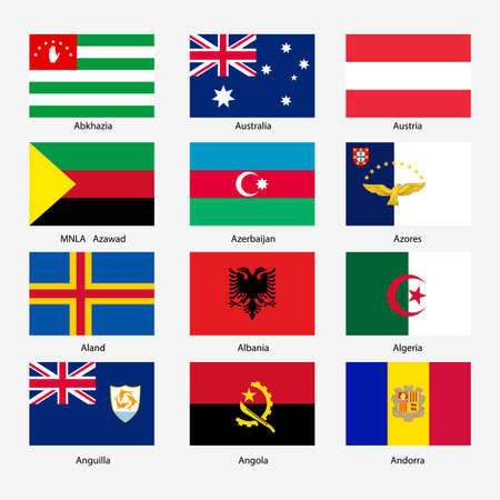Set  Flags of world sovereign states. Vector illustration. Set number 1. Exact colors. Easy changes. Vector