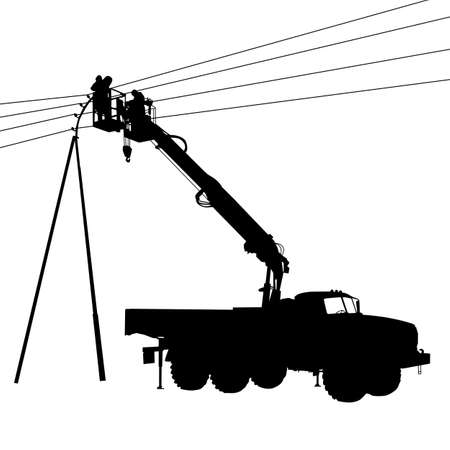 linemen: Electrician, making repairs at a power pole.
