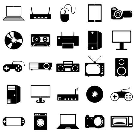 cd recorder: Collection flat icons. Eectronic devices symbols.