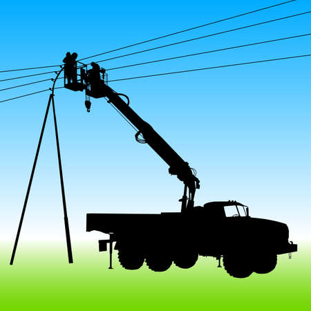 Electrician, making repairs at a power pole. Vector illustration. Vector