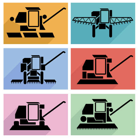 Collection flat icons with long shadow. Agricultural vehicles harvesting combine symbols. Vector illustration. Vector