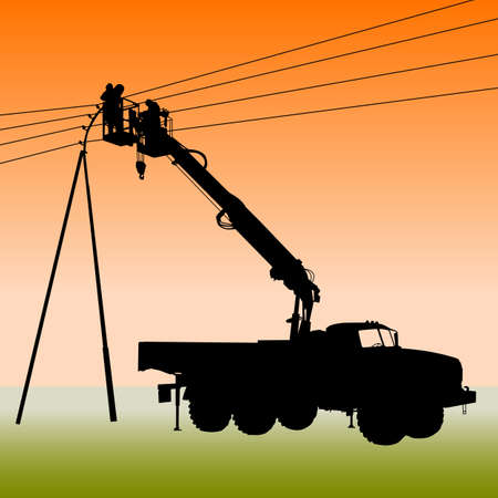 power pole: Electrician, making repairs at a power pole.