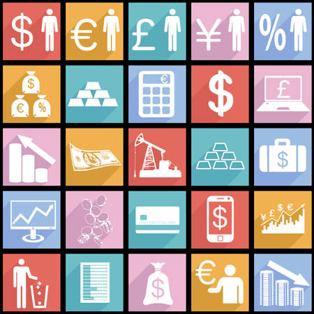 Collection flat icons with long shadow.  Finance symbols.  Illustration