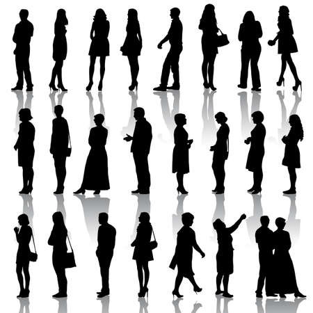 sexy woman silhouette: Black silhouettes of beautiful mans and womans on white background.