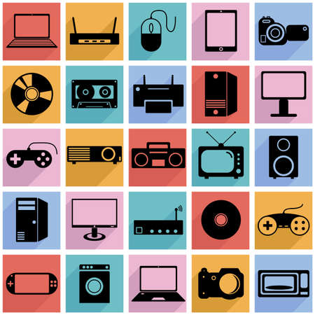 Collection flat icons with long shadow. Eectronic devices symbols.  Vector