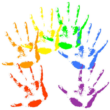 homosexuality: Hand print  rainbow colors, skin texture pattern,  Illustration