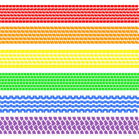 Set of detailed tire prints , a rainbow Vector