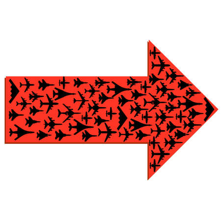 Directional arrow with the airplanes inside.  Vector
