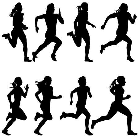 Set of silhouettes women Runners on sprint 向量圖像