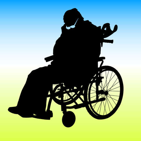 One handicapped man in wheelchair silhouette illustration. Vector