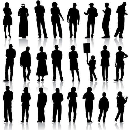 sexy woman silhouette: Black silhouettes of beautiful men and women on white background
