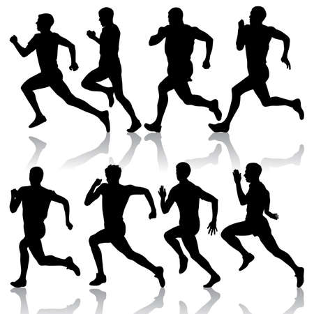 running woman: Set of silhouettes men Runners on sprint Illustration
