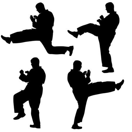 tai chi: black silhouettes of karate Sport illustration.