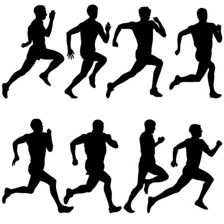 athlete running: silhouettes men Runners on sprint