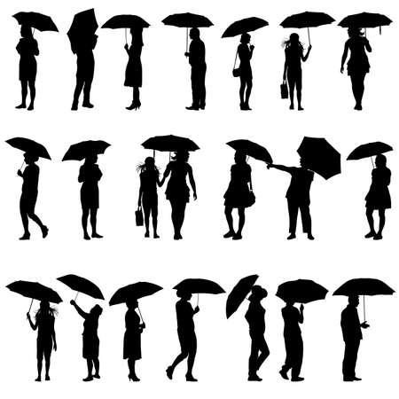 sexy umbrella: Set of black silhouettes of men and women with umbrellas illustration. Illustration