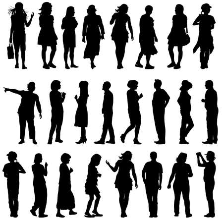 beautiful men: Black silhouettes of beautiful men and women on white background illustration.