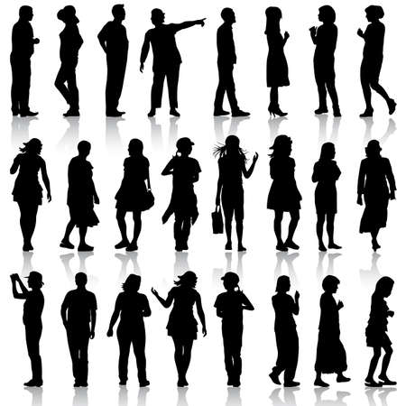 sexy woman silhouette: Black silhouettes of beautiful men and women on white background illustration.