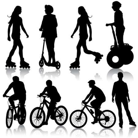 자전거 그림의 실루엣. 일러스트