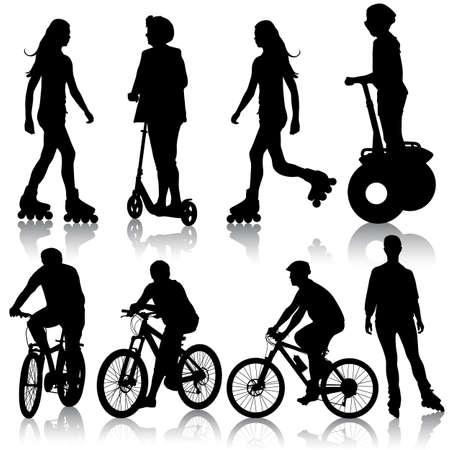 segway: silhouette of cyclists illustration. Illustration
