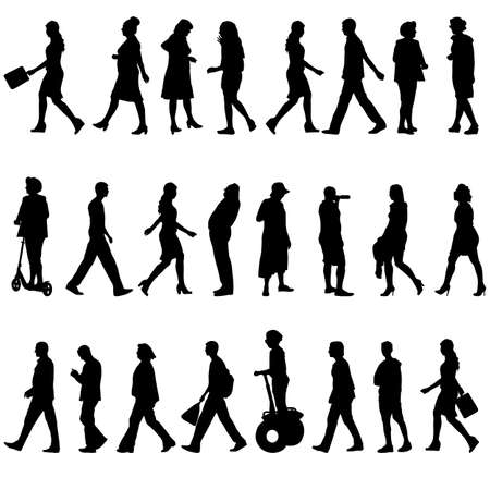 a walk: Black silhouettes of beautiful men and women on white background