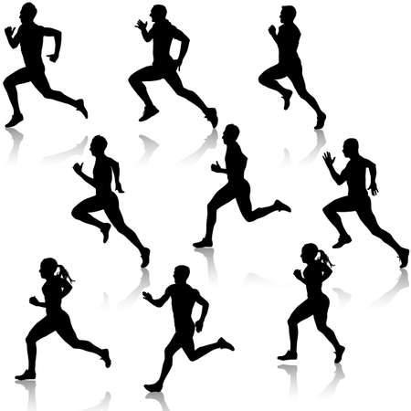 runners: Set running silhouettes illustration.