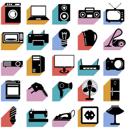 iron fan: Electrical devices symbols illustration.