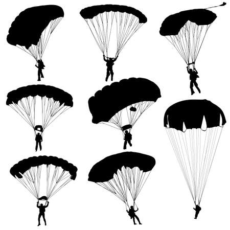 fallschirmj�ger: Fallschirmspringen Silhouetten Illustration