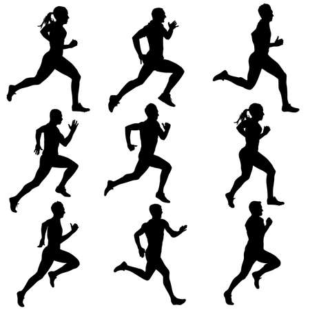 silhouette woman: running women silhouettes illustration. Illustration