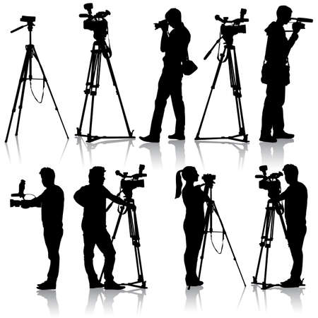 cinematographer: Cameraman with video camera Silhouettes on white background