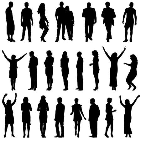 sexy woman black white silhouette: Black silhouettes of beautiful men and women on white background