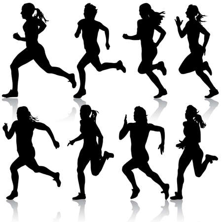 woman run: Set of silhouettes women Runners on sprint Illustration