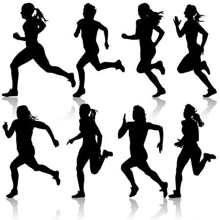 Set of silhouettes women Runners on sprint Stock Illustratie