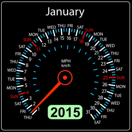 2015 year calendar speedometer car in vector. January. Vector