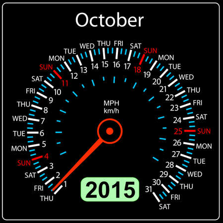 2015 year calendar speedometer car in vector. October. Vector