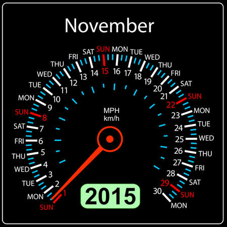 2015 year calendar speedometer car in vector. November. Vector