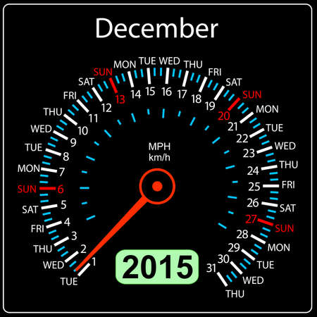 2015 year calendar speedometer car in vector. December. Vector