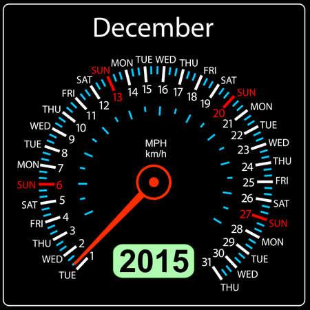 2015 year calendar speedometer car in vector. December. Vector