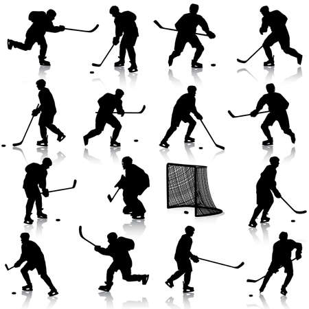 hockey player: Set of silhouettes of hockey player. Isolated on white. illustrations.