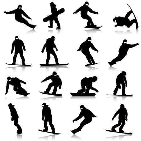 Black silhouettes set snowboarders on white background. Vector illustration. Illustration