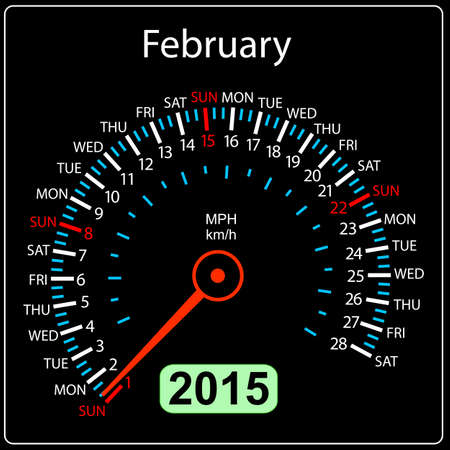 2015 year calendar speedometer car in vector. February. Vector