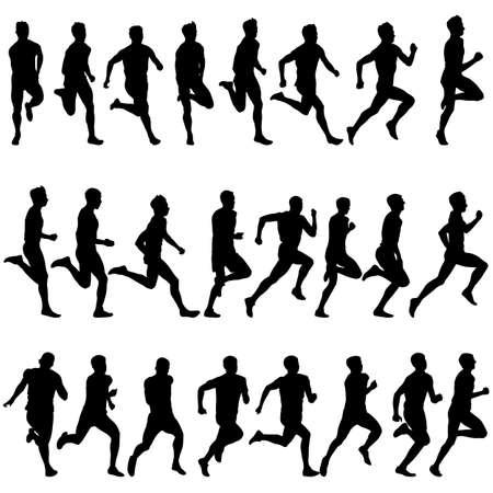 atleta corriendo: Conjunto de siluetas. Corredores en el sprint, los hombres. ilustración del vector.