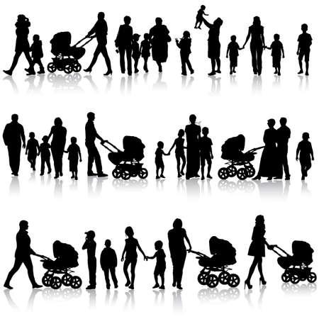 Black set of silhouettes of parents and children on white background. Vector illustration. Illusztráció